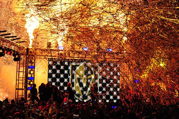 LAS VEGAS, NV - NOVEMBER 22: Pyrotechnics explode as the Vegas Golden Knights name and logo is revealed during the Las Vegas NHL team name Unveiling ceremony on November 22, 2016, at The Park at T-Mobile Arena in Las Vegas, NV. (Photo by Josh Holmberg/Icon Sportswire via Getty Images)