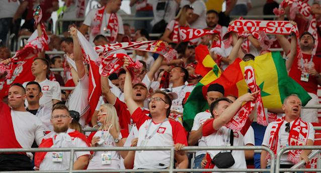 Soccer Football - World Cup - Group H - Poland vs Senegal - Spartak Stadium, Moscow, Russia - June 19, 2018 Poland fans before the match REUTERS/Maxim Shemetov