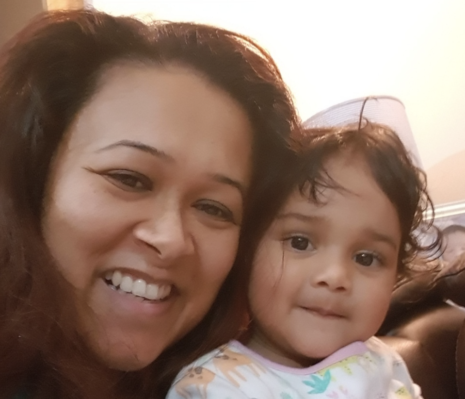 Dr Anushua Gupta spent 150 days in hospital battling coronavirus complications. She is pictured with her then 18-month-old daughter in March 2020, around the time she is thought to have caught the infection. (Supplied: Dr Anushua Gupta)