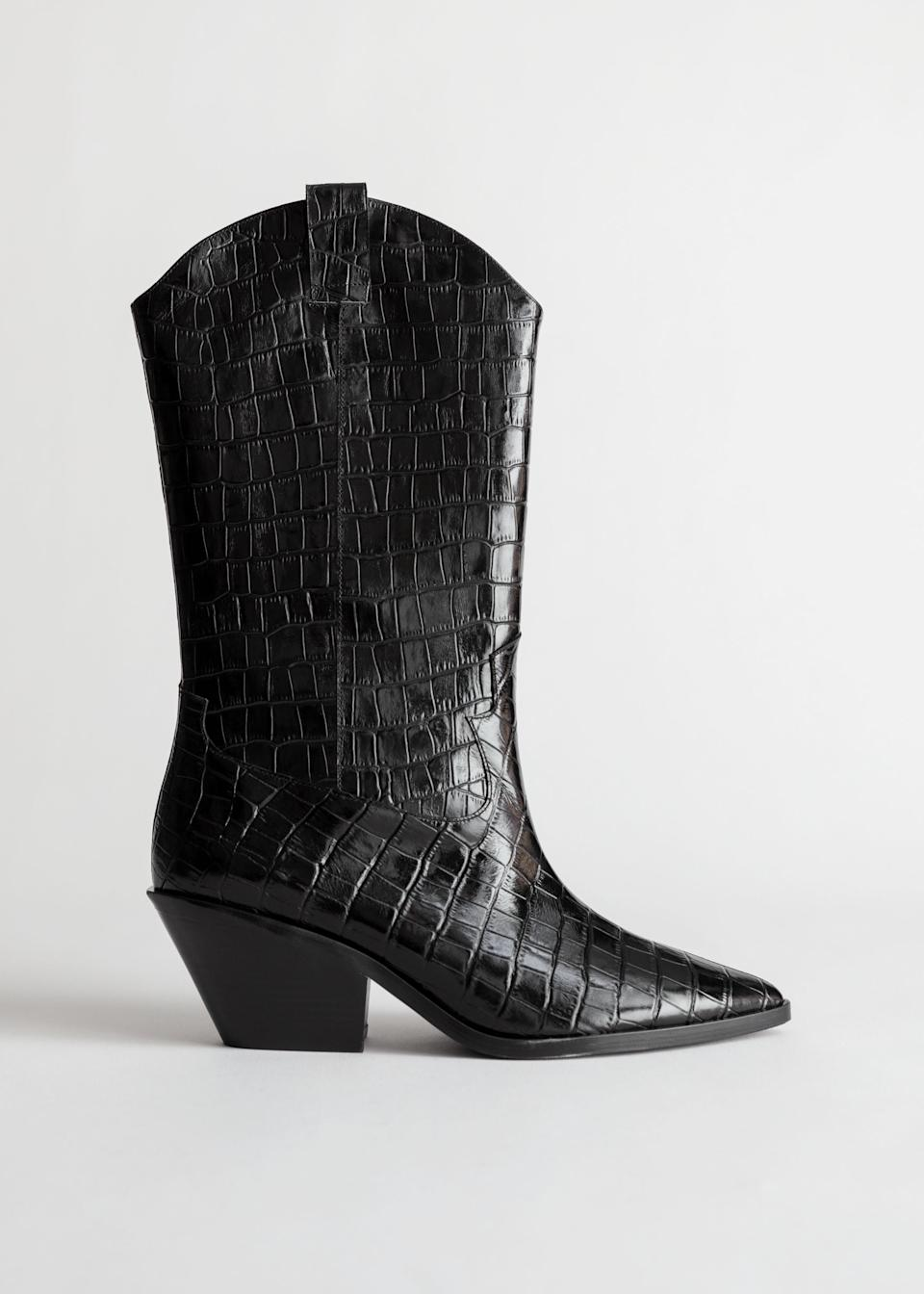 """<br><br><strong>& Other Stories</strong> Croc Embossed Leather Cowboy Boots, $, available at <a href=""""https://go.skimresources.com/?id=30283X879131&url=https%3A%2F%2Fwww.stories.com%2Fen_usd%2Fshoes%2Fboots%2Fproduct.croc-embossed-leather-cowboy-boots-black.0794834002.html"""" rel=""""nofollow noopener"""" target=""""_blank"""" data-ylk=""""slk:& Other Stories"""" class=""""link rapid-noclick-resp"""">& Other Stories</a>"""
