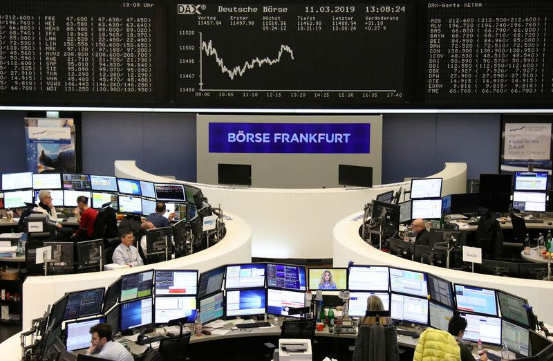 FILE PHOTO: The German share price index DAX graph is pictured at the stock exchange in Frankfurt, Germany, March 11, 2019. REUTERS/Staff