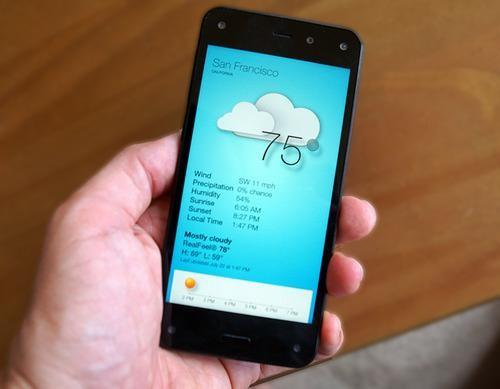 Fire phone displaying weather