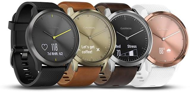 The Garmin is available in colors like black, gold, rose gold, and black/silver.
