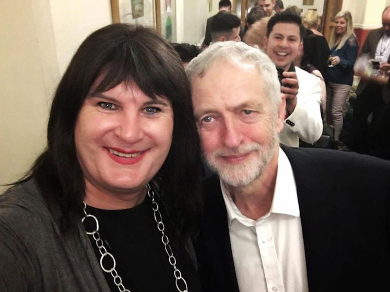 Sophie Cook posing with Labour leader Jeremy Corbyn; she is vying to become the first transgender MP: Sophie Cook