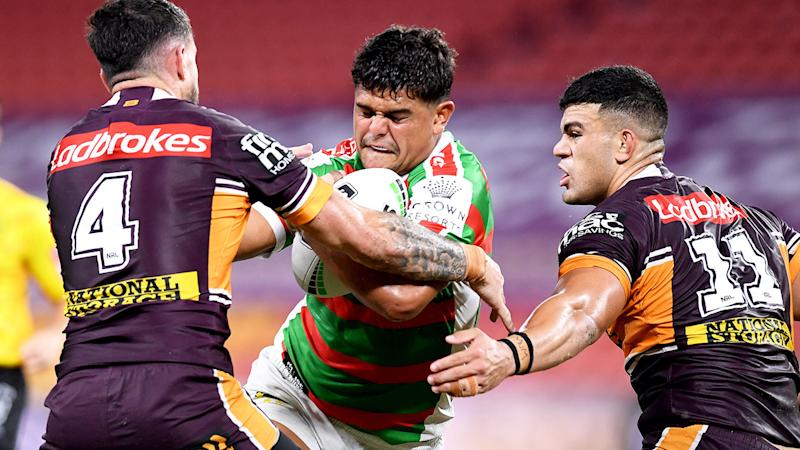 Seen here, Latrell Mitchell in action against the Broncos in round two.