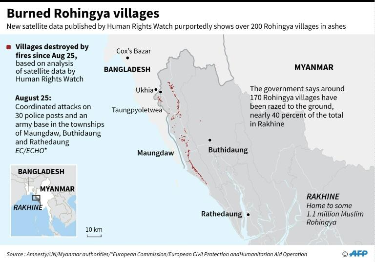 Map of Myanmar's Rakhine State showing areas where fires were detected by satellites, according to Human Rights Watch