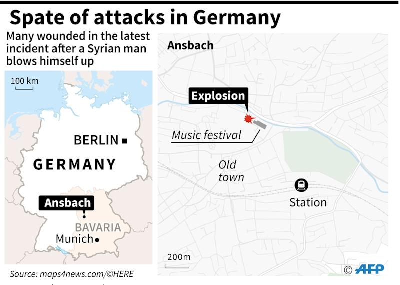 Map locating Ansbach in southern Germany where a man exploded a bomb killing himself on July 25 (AFP Photo/Jonathan Storey)