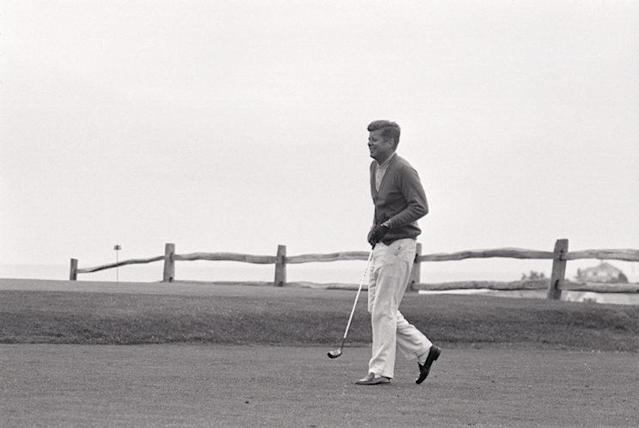 Despite severe back problems, JFK maintained a healthy image. (Photo: Getty Images)