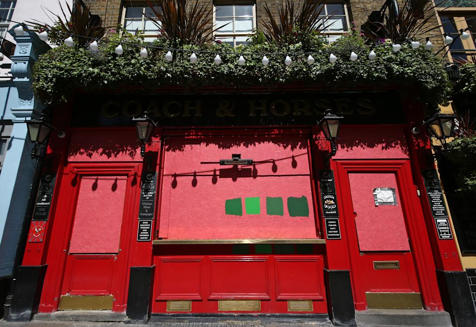 The closed Coach & Horses pub in Covent Garden, London, as further coronavirus lockdown restrictions are lifted in England. (Photo by Yui Mok/PA Images via Getty Images)