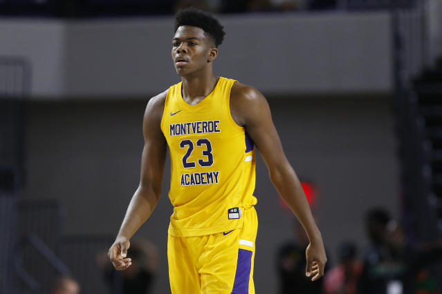 Day'ron Sharpe of Montverde Academy looks on during the City of Palms Classic at Suncoast Credit Union Arena on Dec. 19, 2019 in Fort Myers, Florida. (Michael Reaves/Getty Images)