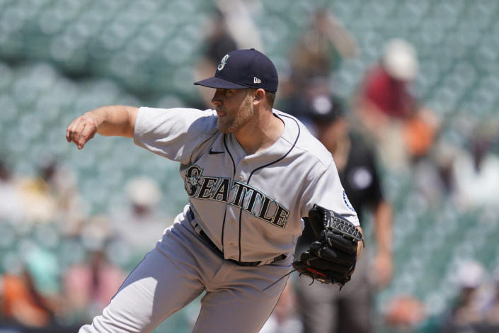 Seattle Mariners relief pitcher Will Vest throws during the sixth inning of a baseball game against the Detroit Tigers, Thursday, June 10, 2021, in Detroit. (AP Photo/Carlos Osorio)