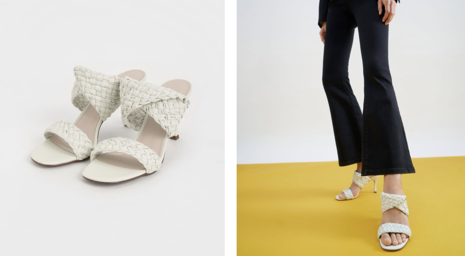 PHOTO: Charles & Keith. Double Strap Woven Heeled Mules