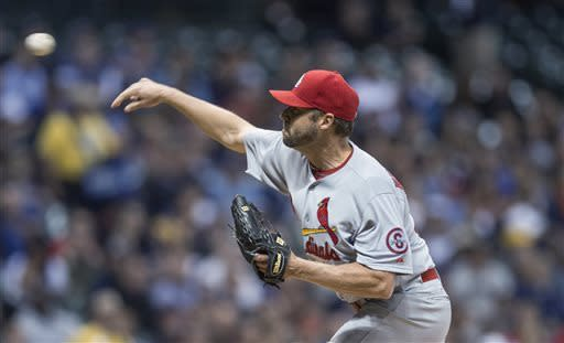 St. Louis Cardinals' Jake Westbrook pitches to a Milwaukee Brewer batter during the first inning of a baseball game Thursday, May 2, 2013, in Milwaukee. (AP Photo/Tom Lynn)