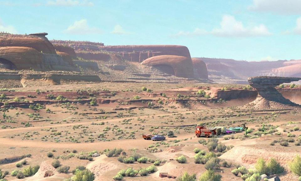 <p>The landscapes of Pixar's 'Cars' trilogy are designed to look like the outlines of classic cars, and hood ornaments. We were too busy laughing at Mater to notice first time around. </p>
