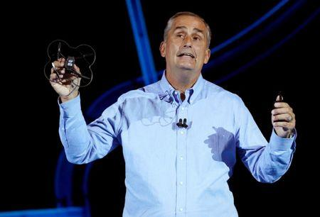 FILE PHOTO - Brian Krzanich, Intel CEO, holds up Intel's newest drone, the Shooting Star Mini as he speaks at the Intel Keynote address at CES in Las Vegas