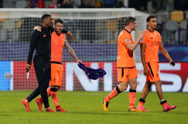 Soccer Football - Champions League - Maribor vs Liverpool - Ljudski vrt, Maribor, Slovenia - October 17, 2017 Liverpool's Georginio Wijnaldum, Alberto Moreno, James Milner and Trent Alexander-Arnold celebrate at the end of the match REUTERS/Srdjan Zivulovic