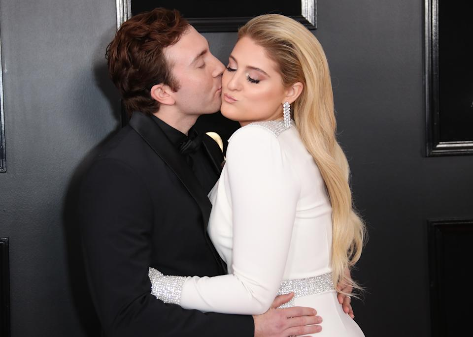 LOS ANGELES, CA - FEBRUARY 10: Daryl Sabara and Meghan Trainor attend the 61st Annual GRAMMY Awards at Staples Center on February 10, 2019 in Los Angeles, California. (Photo by Dan MacMedan/Getty Images)