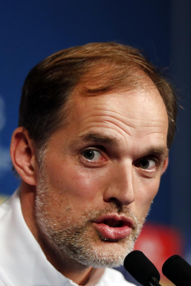 PSG's head coach Thomas Tuchel gives a press conference at the Parc des Princes stadium, in Paris, Tuesday, Nov. 5, 2019. Paris Saint Germain will play against Bruges in a Champions League soccer match Group A on wednesday. (AP Photo/Thibault Camus)