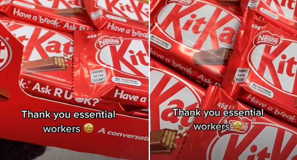 Pile of Kit Kat bars with the text 'thank you essential workers' underneath. Source: TikTok @lisabiscoff