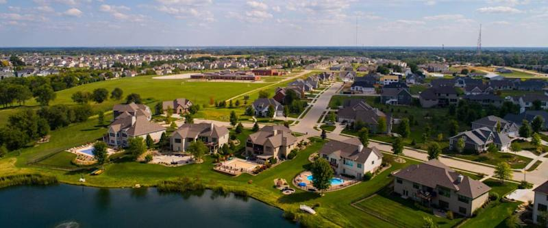 Aerial image of single family homes in Bettendorf Iowa USA