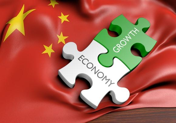 Chinese flag with puzzle pieces reading Economy and Growth