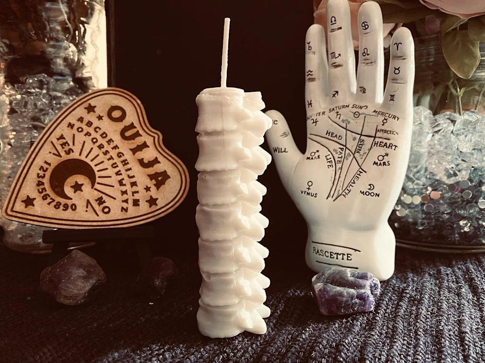 <p>Here comes the goosebumps! Available on Etsy, this handmade soy wax <span>Spooky Spine Candle</span> ($10) will send literal chills down your spine.</p>