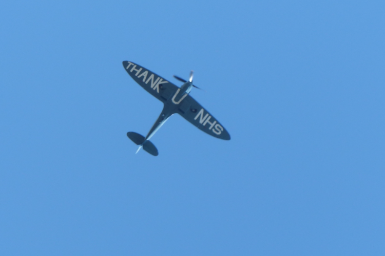 The Spitfire flying above Dover on Saturday: Gary Moore