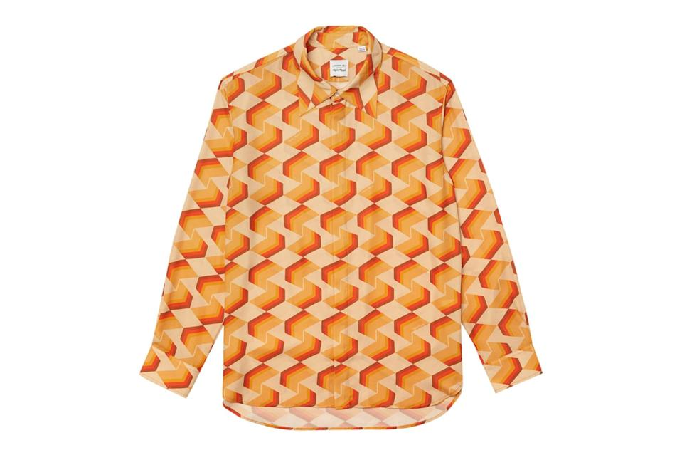 """<p>If the roaring '20s are indeed on the horizon, you're going to need a shirt that makes you feel downright <em>sexy</em>. This flowy cut and vibrant geometric print, courtesy of Lacoste's collaboration with silky-voiced crooner Bruno Mars, should do the trick.</p> <p><em>Lacoste x Ricky Regal relaxed fit flowy patterned shirt</em></p> $195, The Webster. <a href=""""https://thewebster.us/shop/x-ricky-regal-relaxed-fit-flowy-patterned-shirt.html"""" rel=""""nofollow noopener"""" target=""""_blank"""" data-ylk=""""slk:Get it now!"""" class=""""link rapid-noclick-resp"""">Get it now!</a>"""