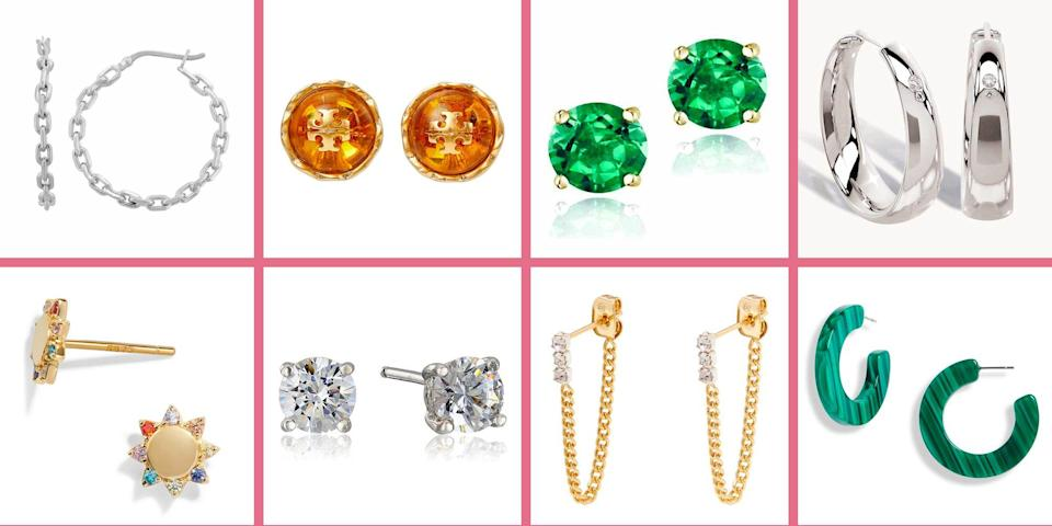 """<p>Raise your hand if you've gotten itchy lobes after donning a pair of earrings. You might have sensitive ears and the cause of irritation is likely the type of metal in your jewelry.</p><p>""""An allergy to nickel, which is mixed in with most gold jewelry (except 24k gold), is the probably culprit for your allergic reaction,"""" explains <a href=""""https://ingletonmd.com/"""" rel=""""nofollow noopener"""" target=""""_blank"""" data-ylk=""""slk:board-certified dermatologist Dr. Rosemarie Ingleton, MD"""" class=""""link rapid-noclick-resp"""">board-certified dermatologist Dr. Rosemarie Ingleton, MD</a>. Symptoms typically include redness, itching, rash, and swelling around the earring area, she says. If this sounds all too familiar, she recommends cleaning your ear with fragrance-free soap and water before applying hydrocortisone cream to the affected place until it heals.</p><p>We hate to break it to you, but it could also be best to toss aside the styles you scored at your favorite fast fashion retailer. While you should always double check the material content or packaging (some will denote """"nickel-free""""), Dr. Ingleton advises anyone with an allergy to """"avoid wearing costume jewelry in general, as these are commonly made with nickel"""" to keep the manufacturing costs down. </p><p>So what sensitive-skin friendly metals <em>should </em>you look for in earrings and other jewelry to prevent irritation? According to Dr. Ingleton, sterling silver (which is marked with a 925 stamp), 18k or 24k gold (which contains 75% or pure gold, respectively), nickel-free stainless steel and platinum, are your safest bets since these metals are less likely to contain nickel. Yes, some of them may cost a bit more, but because they are so durable, these pieces will last longer too.</p><p>From studs to hoops to statement styles (and everything in between), we found the prettiest hypoallergenic earrings for sensitive pierced ears.</p>"""