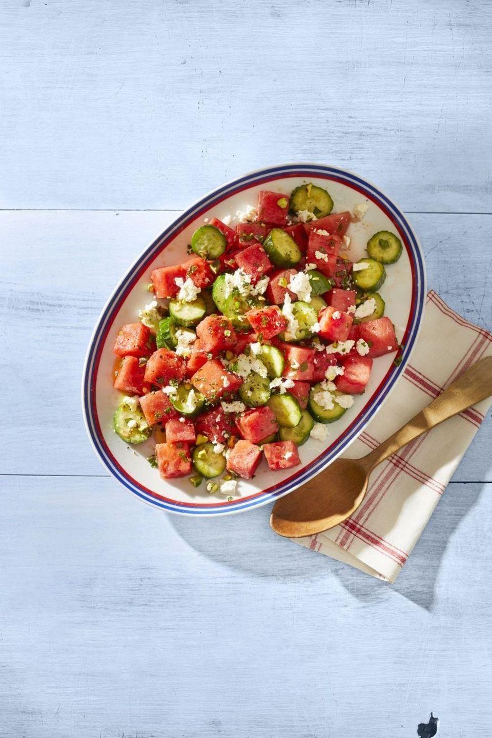 """<p>There are few things you'll want more on a hot July day than a cool, refreshing salad. This one fits the bill beautifully.</p><p><strong><a href=""""https://www.thepioneerwoman.com/food-cooking/recipes/a32345604/watermelon-salad-with-feta-and-mint-recipe/"""" rel=""""nofollow noopener"""" target=""""_blank"""" data-ylk=""""slk:Get the recipe."""" class=""""link rapid-noclick-resp"""">Get the recipe.</a></strong></p><p><a class=""""link rapid-noclick-resp"""" href=""""https://go.redirectingat.com?id=74968X1596630&url=https%3A%2F%2Fwww.walmart.com%2Fip%2FThe-Pioneer-Woman-Vintage-Floral-3-Piece-Serving-Bowl-Set%2F115837521&sref=https%3A%2F%2Fwww.thepioneerwoman.com%2Ffood-cooking%2Fmeals-menus%2Fg32157273%2Ffourth-of-july-appetizers%2F"""" rel=""""nofollow noopener"""" target=""""_blank"""" data-ylk=""""slk:SHOP SERVING BOWLS"""">SHOP SERVING BOWLS</a><strong><br></strong></p>"""