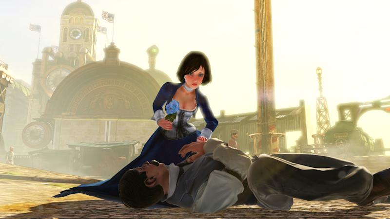 "This publicity photo released by 2K Games/Irrational Games shows the character, Elizabeth, in a scene from the video game ""BioShock Infinite."" With an enterprising blend of art and technology, the creators of ""BioShock Infinite"" have aspirations that she'll be the most human-like character to ever appear in a video game. (AP Photo/2K Games/Irrational Games)"