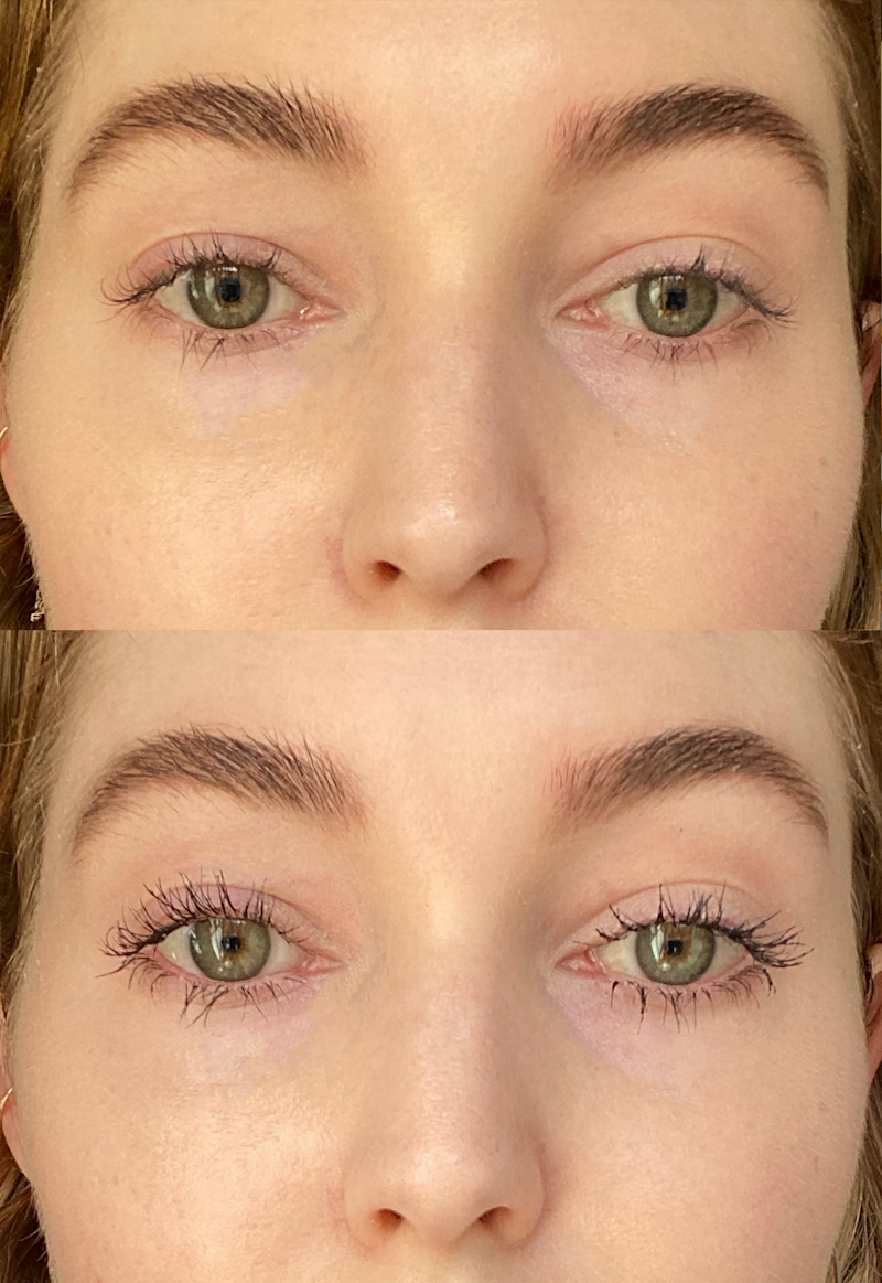 My lashes without and with Thrive Causemetics Liquid Lash Extensions mascara.
