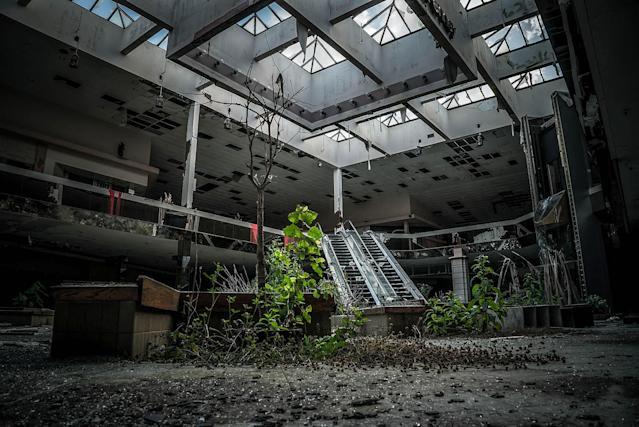 <p>Abandoned overgrown mall in Ohio. (Photo: Johnny Joo/Caters News) </p>