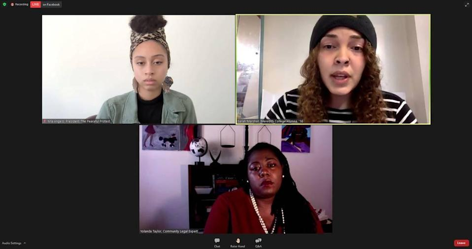 Meredith College alumna and community activists hosted a virtual press conference to address an incident where a professor allegedly used a racial slur in class in the fall semester. Clockwise from top left, community activist Mia Angelo, alumna Sarah Marshall and lawyer Yolanda Taylor.