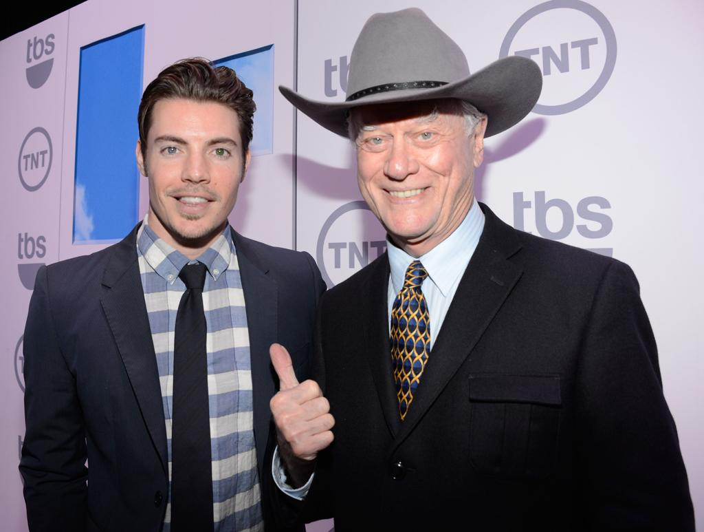 "Josh Henderson and Larry Hagman (""Dallas"") attend the TNT/TBS 2012 Upfront Presentation at Hammerstein Ballroom on May 16, 2012 in New York City."