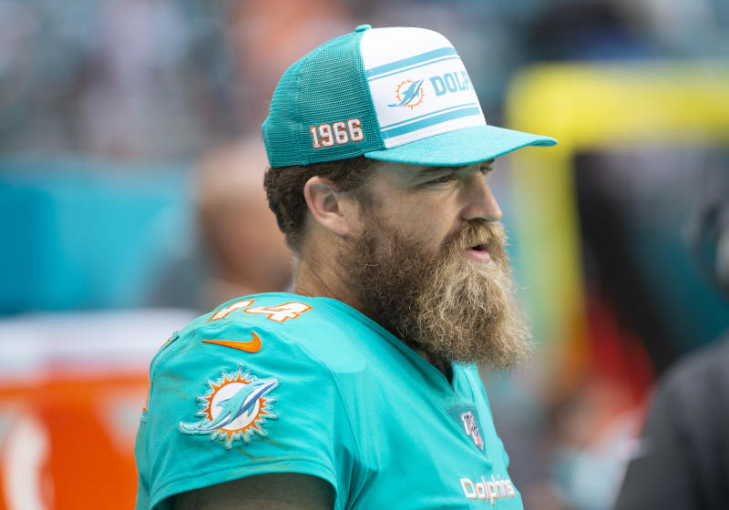MIAMI GARDENS, FL - DECEMBER 22: Miami Dolphins Quarterback Ryan Fitzpatrick (14) on the sidelines during the NFL game between the Cincinnati Bengals and the Miami Dolphins at the Hard Rock Stadium in Miami Gardens, Florida on December 22, 2019. (Photo by Doug Murray/Icon Sportswire via Getty Images)