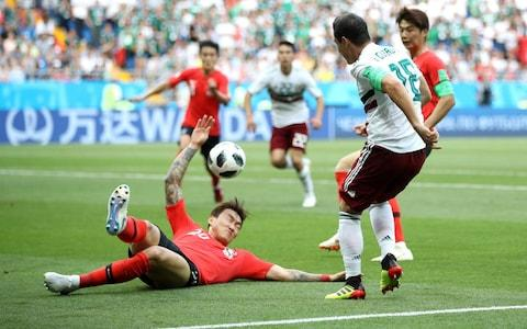 Hyunsoo Jang of Korea Republic handles the ball inside the penalty area, resulting in Mexico being awarded a penalty during the 2018 FIFA World Cup Russia group F match between Korea Republic and Mexico at Rostov Arena  - Credit: Clive Brunskill/Getty Images
