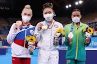 <p>Bronze medalist Angelina Melnikova of Team ROC, Lee and silver medalist Rebeca Andrade of Team Brazil posed proudly with their medals after the women's all-around final on day six of the Tokyo Olympic Games.</p>