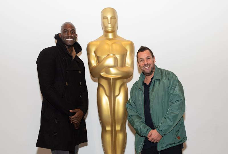 NEW YORK, NEW YORK - DECEMBER 03: Kevin Garnett and Adam Sandler attend The Academy Of Motion Picture Arts & Sciences Hosts An Official Academy Screening Of UNCUT GEMS at MOMA - Celeste Bartos Theater on December 03, 2019 in New York City. (Photo by Mark Sagliocco/Getty Images for The Academy of Motion Picture Arts & Sciences )