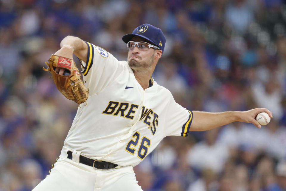 Milwaukee Brewers starting pitcher Aaron Ashby throws to the Chicago Cubs during the first inning of a baseball game Wednesday, June 30, 2021, in Milwaukee. (AP Photo/Jeffrey Phelps)