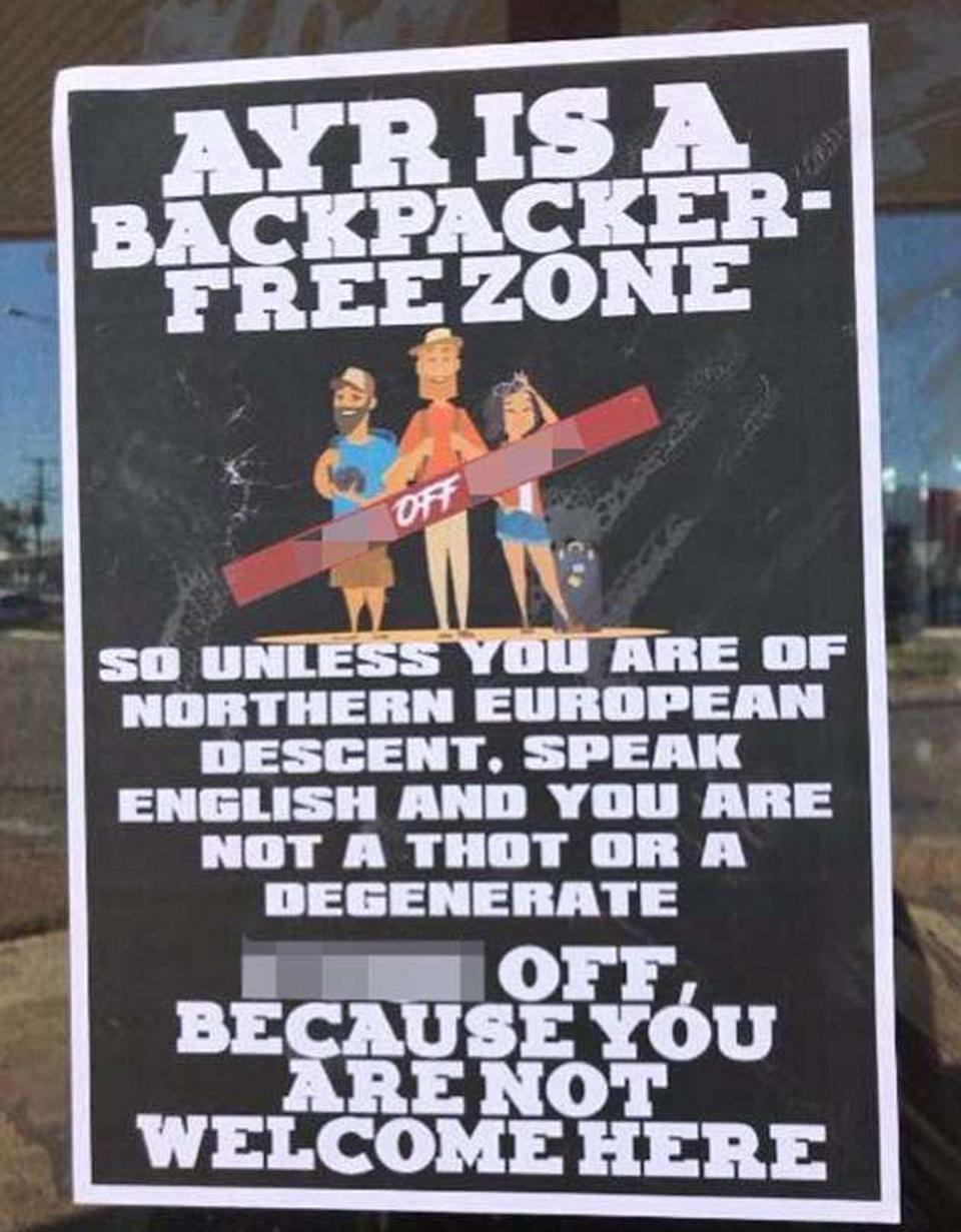 The poster was seen in the window of a shop in Ayr. Source: Facebook/ Australia Backpackers