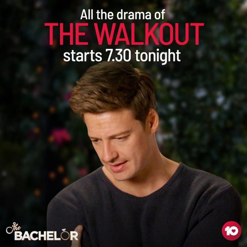 Fans are disappointed after this promo for The Bachelor appeared on the show's social media on Wednesday, but Matt didn't actually walk out during the episode. Photo: Channel Ten