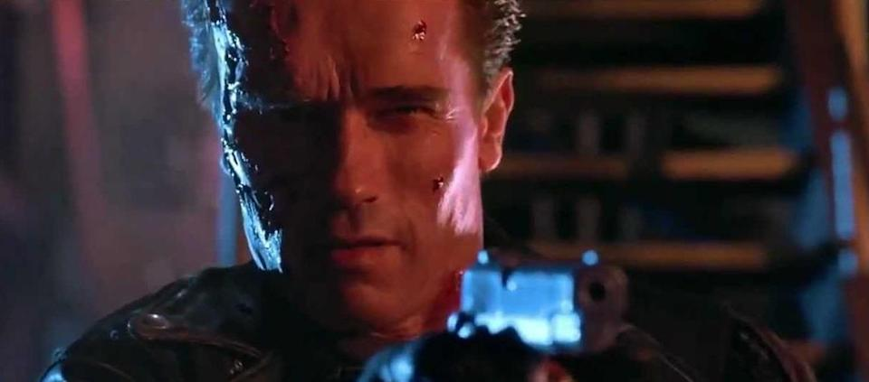 """<p>James Cameron's megabudget sequel to the low-budget classic is often regarded one of the few follow-up films to improve on the original. Wherever you stand on that, there's no question that it gave Schwarzenegger plenty more great lines, and one in particular proved iconic: """"Hasta la vista, baby."""" (Picture credit: Studiocanal) </p>"""