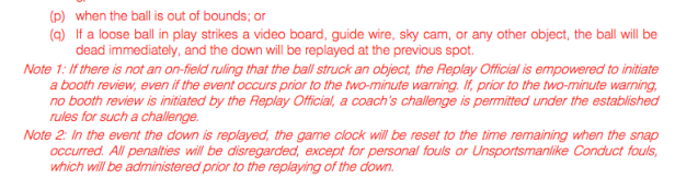NFL rules state that a ball hitting the Skycam wire should result in a dead ball. (NFL rulebook)