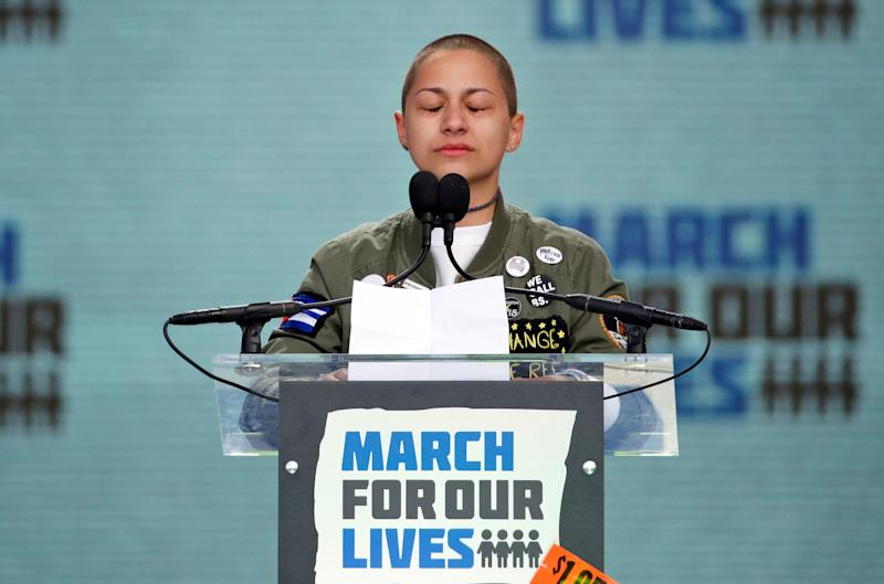 Emma González, a survivor of the mass shooting at Marjory Stoneman Douglas High School in Parkland, Florida, closes her eyes and cries while speaking at the 2018 March for Our Lives rally in support of gun control in Washington. (Photo: ASSOCIATED PRESS)