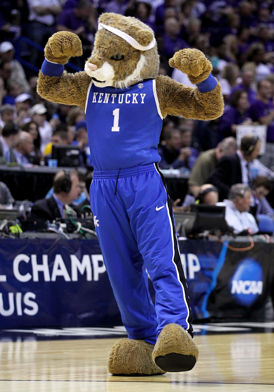 ST LOUIS, MO - MARCH 21: The Kentucky Wildcats mascot performs during the second round of the 2014 NCAA Men's Basketball Tournament against the Kansas State Wildcats at the Scottrade Center on March 21, 2014 in St Louis, Missouri.  (Photo by Andy Lyons/Getty Images)