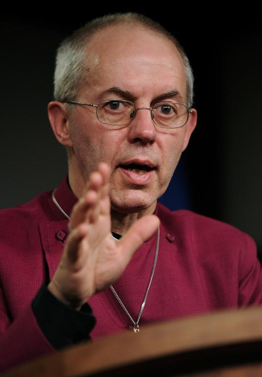 The Archbishop of Cantebury Justin Welby speaks during a press conference in Juba, South Sudan, on January 30, 2014 (AFP Photo/Carl de Souza)