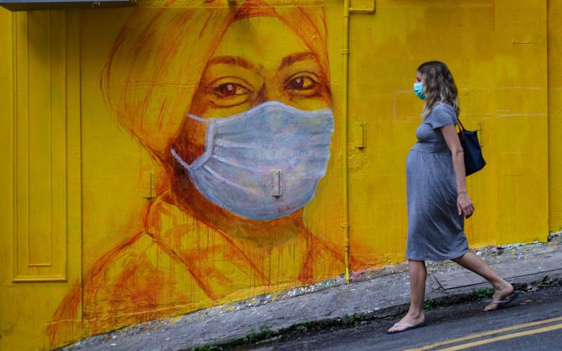 Pregnant women should take the same precautions as the rest of the population, including wearing a face mask and washing their hands, scientists said - AFP
