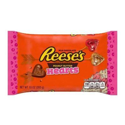 """<p><strong>HERSHEY'S </strong></p><p>walmart.com</p><p><strong>$4.98</strong></p><p><a href=""""https://go.redirectingat.com?id=74968X1596630&url=https%3A%2F%2Fwww.walmart.com%2Fip%2FReese-s-Valentine-Exchange-Chocolate-and-Peanut-Butter-Hearts-Candy-25-Count-15-Oz%2F49057509&sref=https%3A%2F%2Fwww.bestproducts.com%2Feats%2Ffood%2Fg904%2Fvalentines-day-candy%2F"""" rel=""""nofollow noopener"""" target=""""_blank"""" data-ylk=""""slk:Shop Now"""" class=""""link rapid-noclick-resp"""">Shop Now</a></p><p>These miniature Reese's Peanut Butter Hearts will be the envy of any Valentine's Day Zoom celebration. We guarantee these treats will get lots of heart-eye emojis!</p>"""