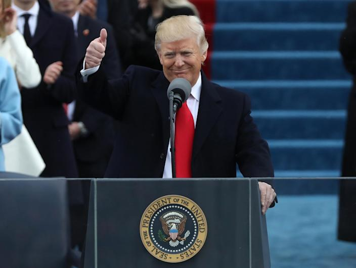 <p>President Donald Trump gives a thumbs up after being sworn in as the 45th president of the United States on the West front of the U.S. Capitol in Washington on Jan.20, 2017. (Photo: Carlos Barria/Reuters) </p>
